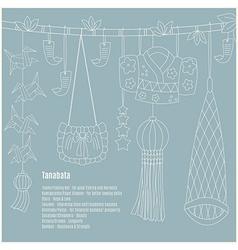 Tanabata hand-drawn symbols vector