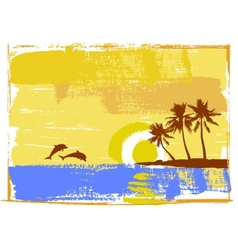 Tropical day palm trees vector image vector image