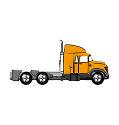 Truck cabin trailer transport business vector