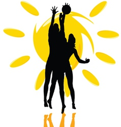 volleyball play two girl silhouette on the sun vector image vector image