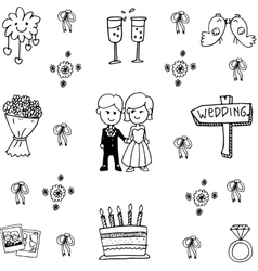 Wedding set party doodle vector