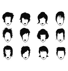 woman hairstyle icons set vector image