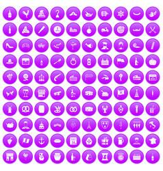 100 alcohol icons set purple vector