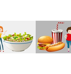 Two women eat different types of food vector