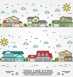 Neighborhood with homes on white background vector