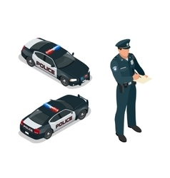 Isometric officer and police car with siren light vector