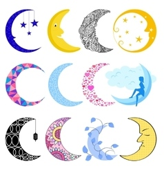 Different moon month vector image