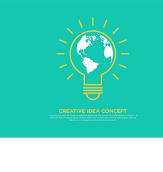 Creative idea concept light bulb and globe vector