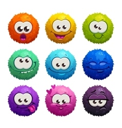 Funny colorful cartoon comic fury round characters vector image