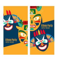Yellow ethno party flyers with masks vector