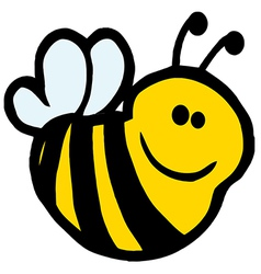 Happy bee cartoon character vector