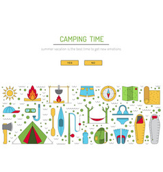 Camping icon outline vector