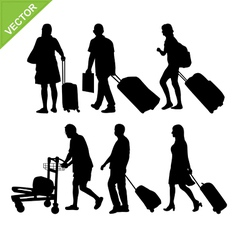 Airport passengers silhouette vector