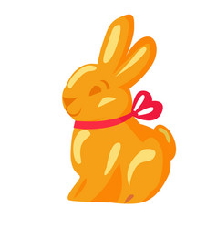 Orange chocolate bunny with pink ribbon drawn icon vector
