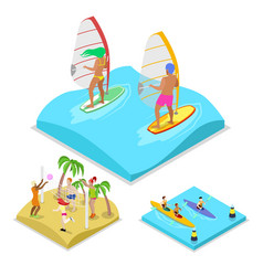 Isometric outdoor activity surfing kayaking vector