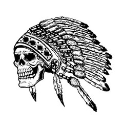 Skull in native american indian chief headdress vector