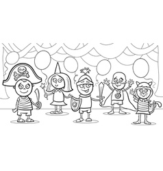 Children at fancy ball coloring page vector