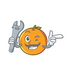 Mechanic orange fruit cartoon character vector