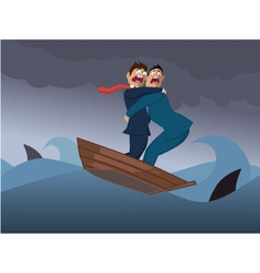 Two businessmen in one boat vector
