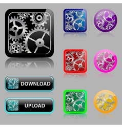 Set web buttons with gears vector