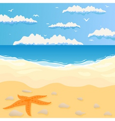 beach and the sea in summer day a vector illustrat vector image