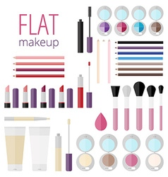Flat mega set of makeup products vector