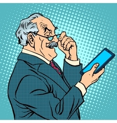 Old man gadgets elderly businessman new tablet vector