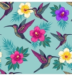 Tropical flowers with a bird pattern vector