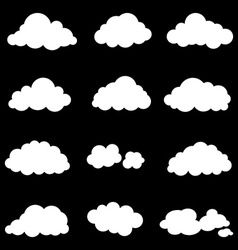 Set cloud smoke element decor isolated for game vector