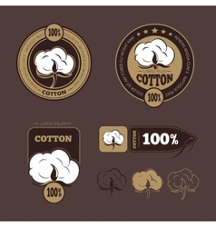 Retro cotton icons labels vector
