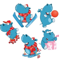Set of cartoon cute hippo vector