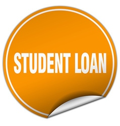 Student loan round orange sticker isolated on vector