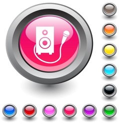 Karaoke round button vector