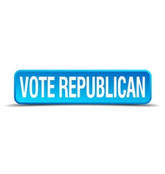 Vote republican blue 3d realistic square isolated vector