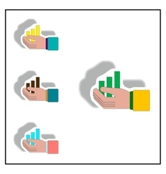 Bar graph and hand collection vector