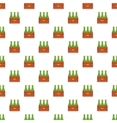 Beer bottles in wooden box pattern cartoon style vector