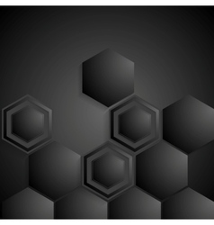 Black geometric hexagons background vector