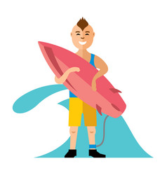 boy with surfing flat style colorful vector image vector image
