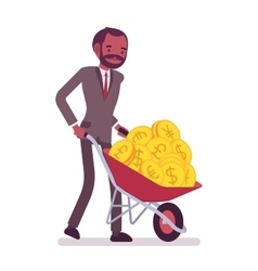 Businessman pushing a wheelbarrow full of golden vector