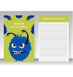 cute notebook template with angry monster vector image vector image