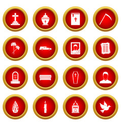 Funeral icon red circle set vector