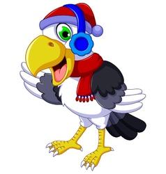 Funny cockatoo cartoon listening music vector