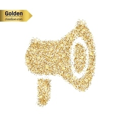 Gold glitter icon of megaphone isolated on vector