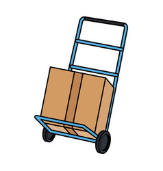 Hand cart shipping box delivery service vector
