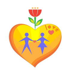Heart with sun man and woman in it vector
