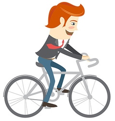 Hipster funny office man riding a bike flat style vector