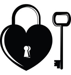 Icon heart on the lock vector