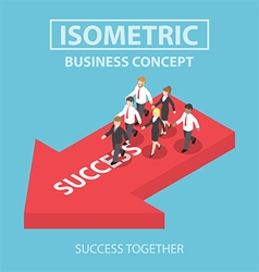 Isometric business leader bring his team to succes vector image vector image