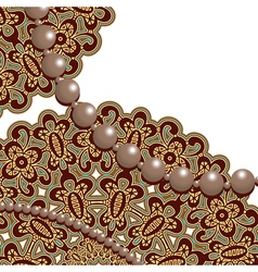 Lace and pearls vector image vector image