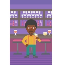 Man holding glass of juice vector